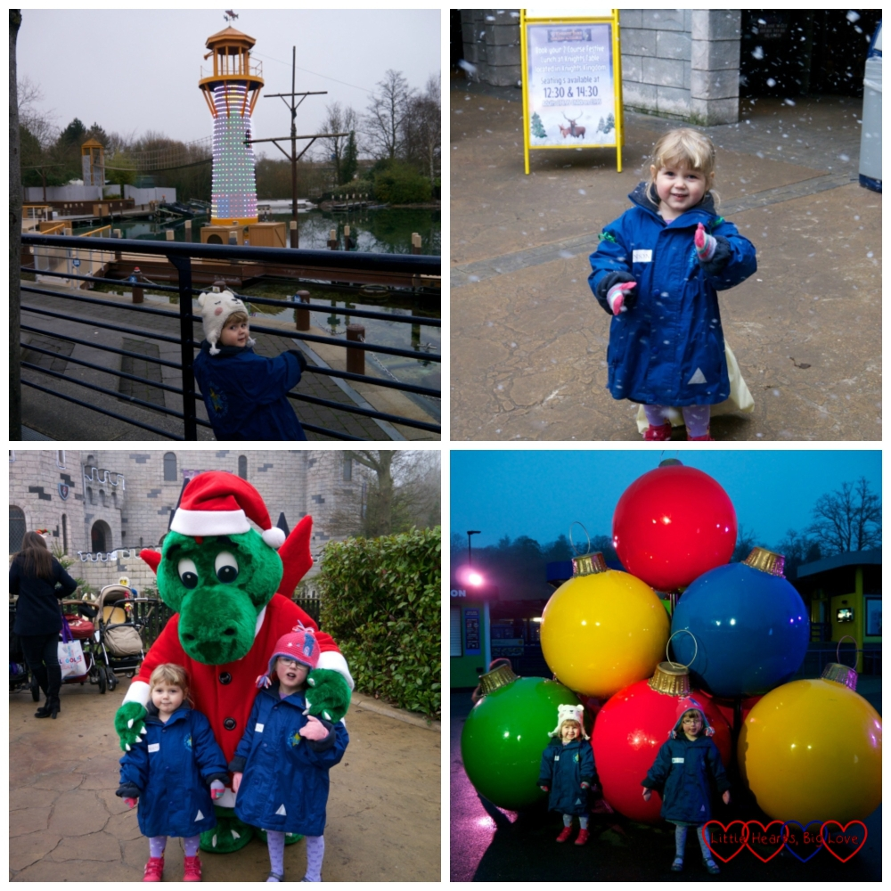 """The lighthouse in the harbour, Sophie enjoying the """"snow"""", meeting Ollie the dragon and posing in front of giant baubles"""