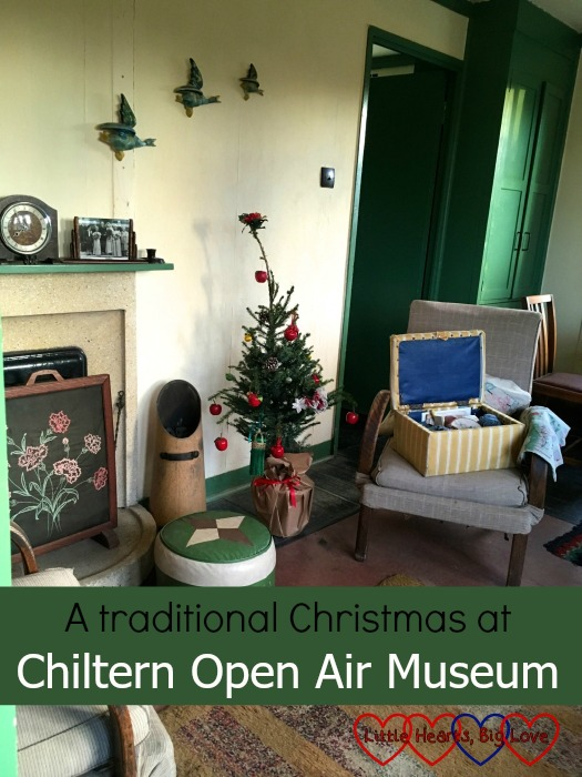 The inside of the Amersham prefab decorated in 1940s style for Christmas - A traditional Christmas at Chiltern Open Air Museum