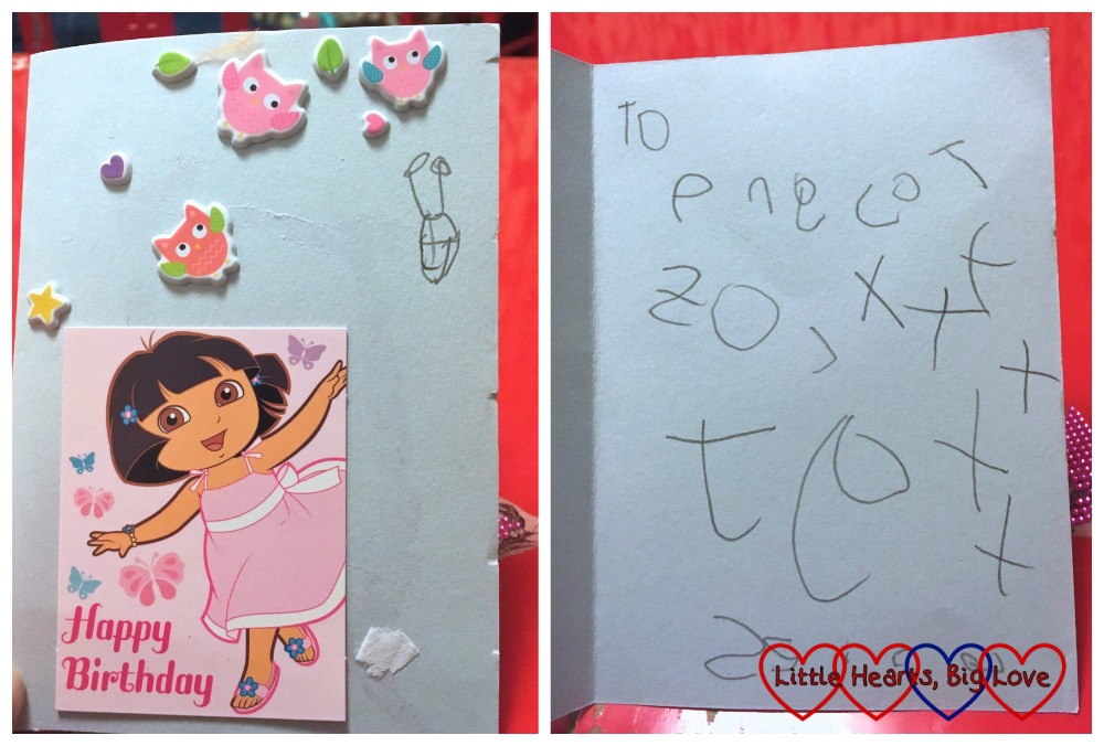 "The birthday card that Jessica made for her toy ""Pink Cat"""