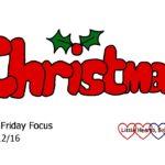 Friday Focus 30/12/16 – Enjoying Christmas with my family