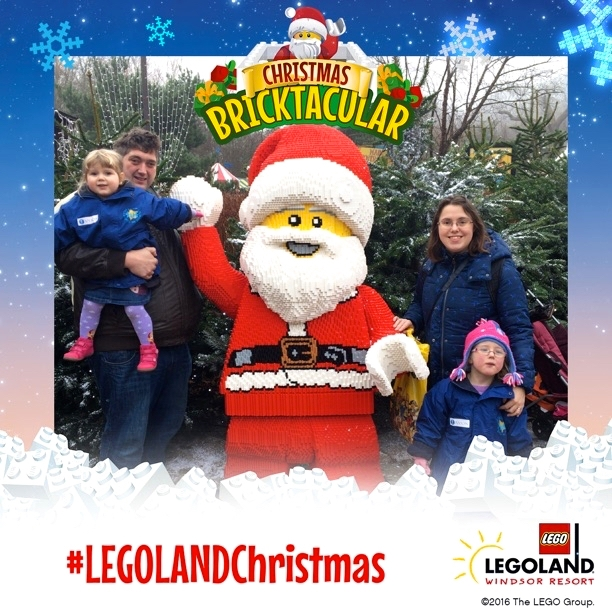 Me, hubby, Jessica and Sophie with a Lego Father Christmas at the Legoland Christmas Bricktacular event