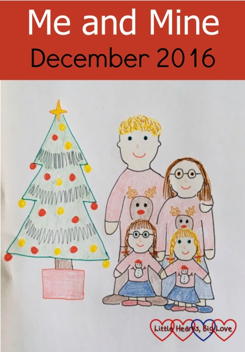 A sketch of me, hubby, Jessica and Sophie wearing Christmas jumpers and standing next to a Christmas tree - Me and Mine: December 2016