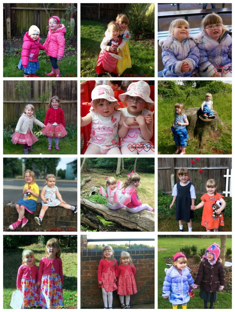 A collage of 12 photos - one from each month of the Siblings project for this year