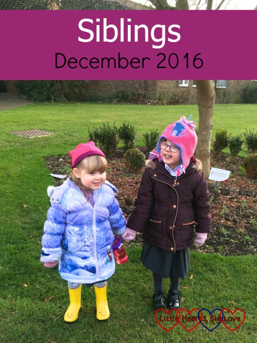 Jessica and Sophie enjoying some time outdoors: Siblings - December 2016