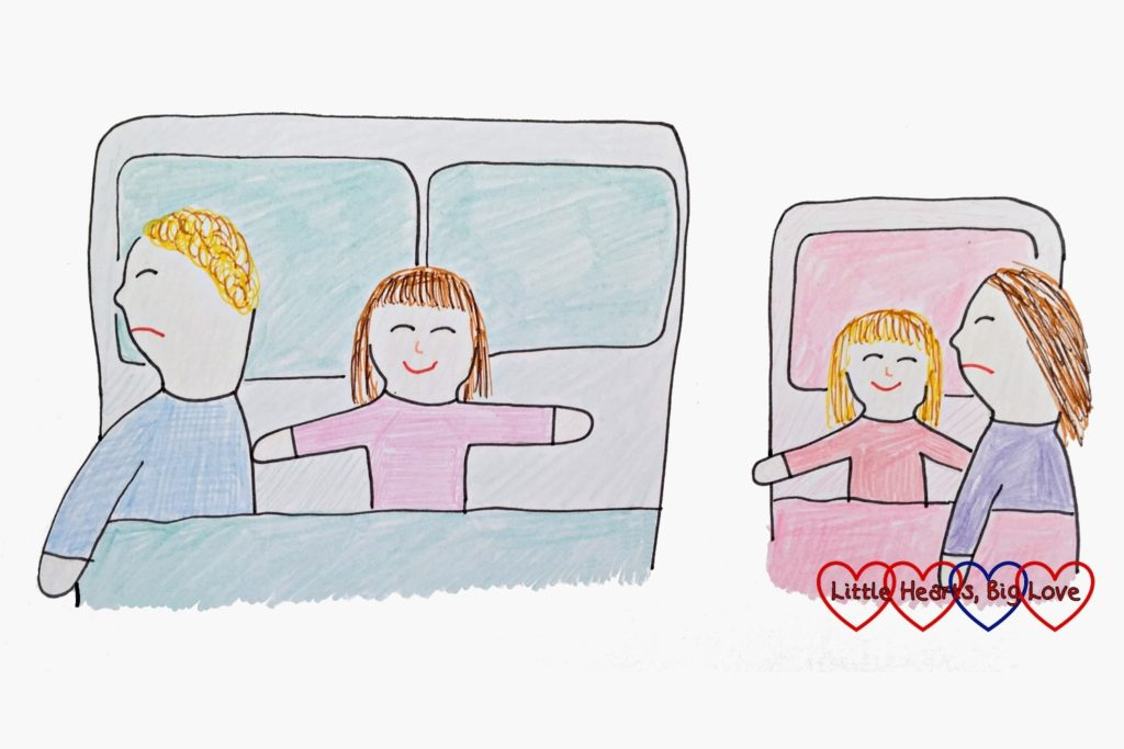 A drawing of a daddy and daughter sleeping in a double bed with the little girl stretched out and daddy on the edge of the bed plus Mummy and the other child squashed together in a toddler bed