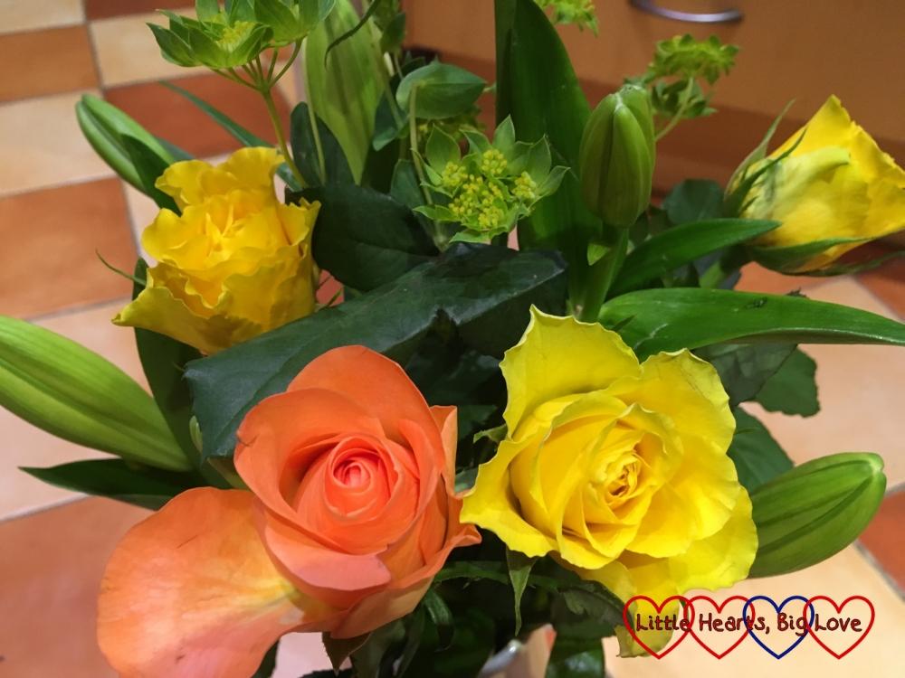 Pretty orange and yellow roses