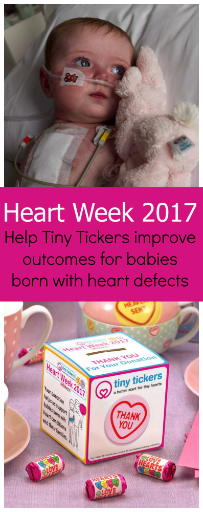 Jessica during her recovery from her Glenn procedure (top) and a Tiny Tickers Heart Week 2017 collection box: Heart Week 2017 - Help Tiny Tickers improve outcomes for babies born with heart defects