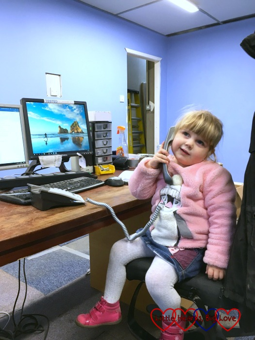 Sophie on the phone in Daddy's office