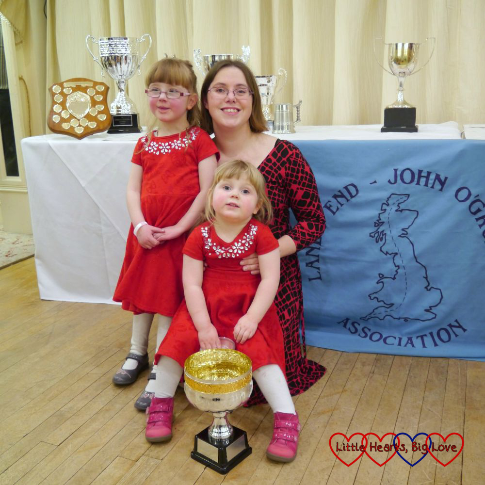 Me, Jessica and Sophie next to the Land's End John O'Groats Association banner with the Jack Adams-Richard Elloway cup in front of Sophie