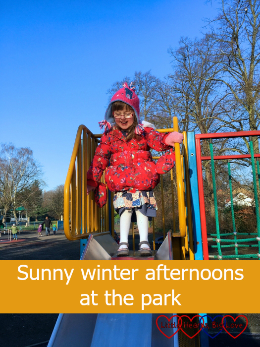 Jessica on the slide at the park: Sunny winter afternoons at the park