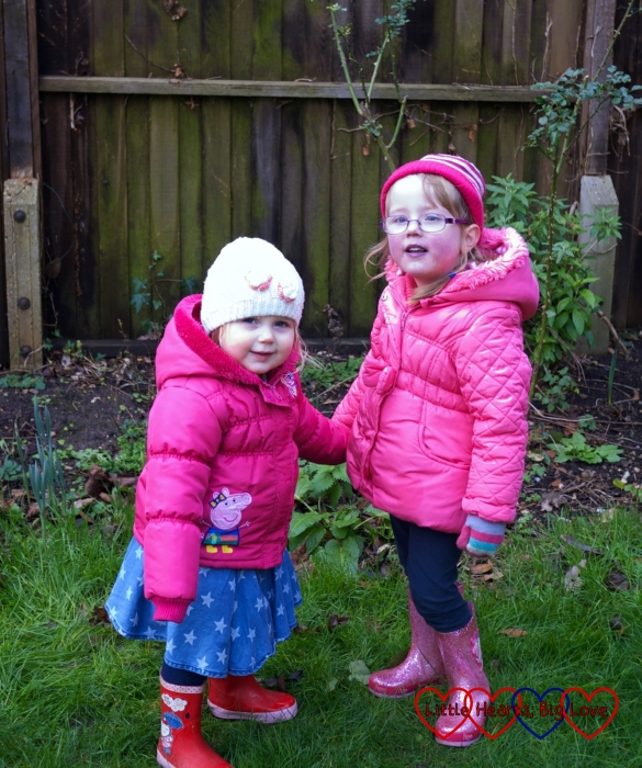 Jessica and Sophie in the garden in winter
