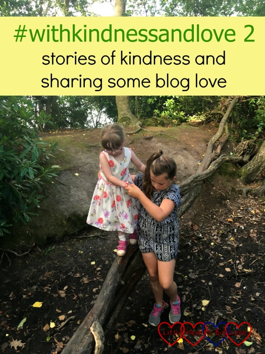 """Jessica being helped across a log by her cousin: """"#withkindnessandlove 2 - stories of kindness and sharing some blog love"""""""