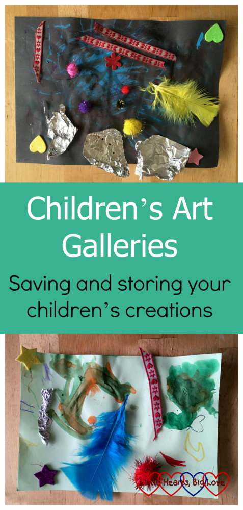 Two pieces of my children's artwork: Children's Art Galleries - saving and storing your children's creations