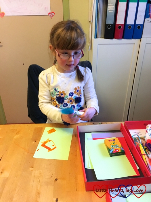 Jessica getting creative with the contents of her craft box from Children's Art Galleries