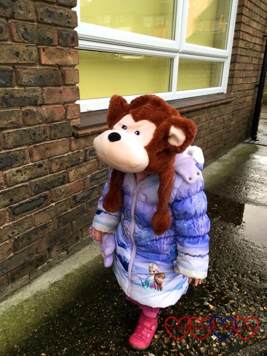 Sophie wearing her monkey hat