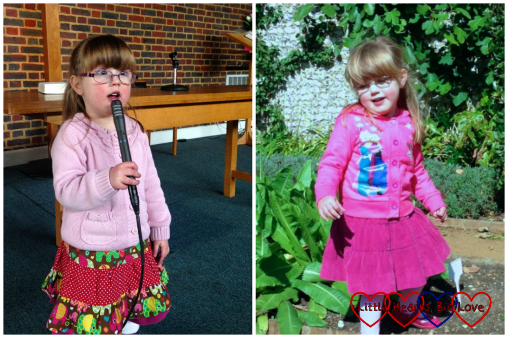 Left - Jessica singing into the microphone at church wearing an elephant print skirt; Right - Jessica exploring a garden wearing a plum coloured corduroy skirt