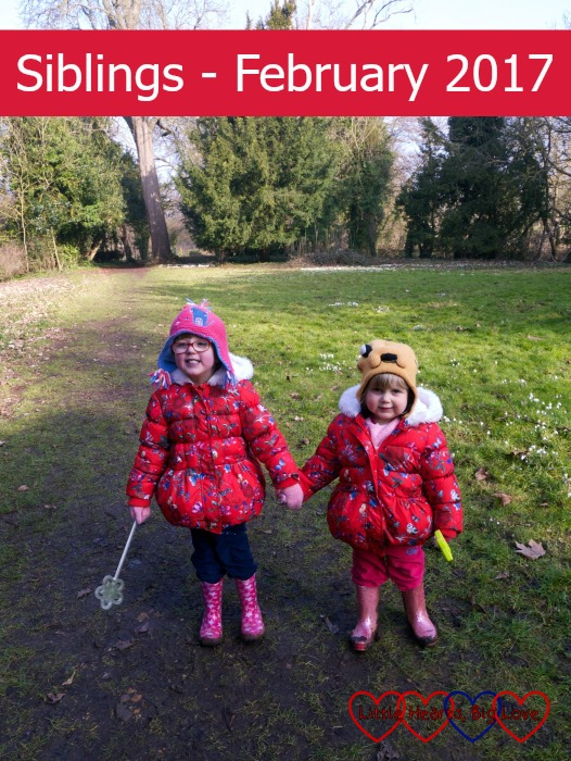 Jessica and Sophie holding hands and enjoying a walk at Ankerwyke: Siblings - February 2017