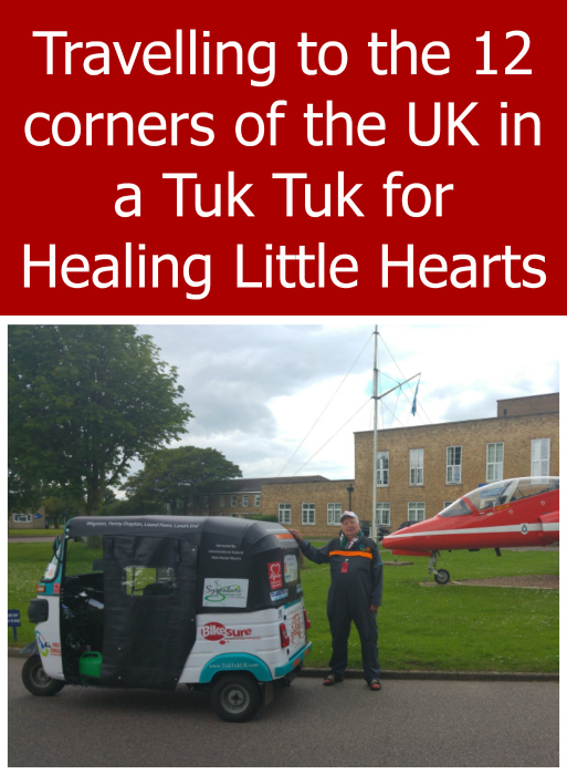 """Steve Gibbs with his Tuk Tuk - """"Travelling to the 12 corners of the UK in a Tuk Tuk for Healing Little Hearts"""""""