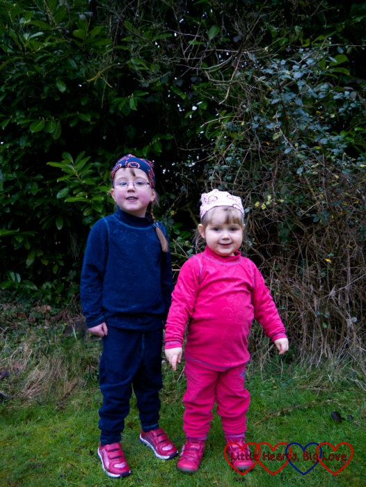 Jessica and Sophie wearing their Tiny Trolls of Norway microfleece outfits