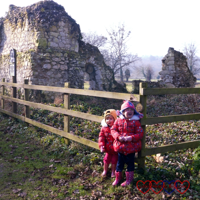 Jessica and Sophie standing outside the ruins of the priory at Ankerwycke