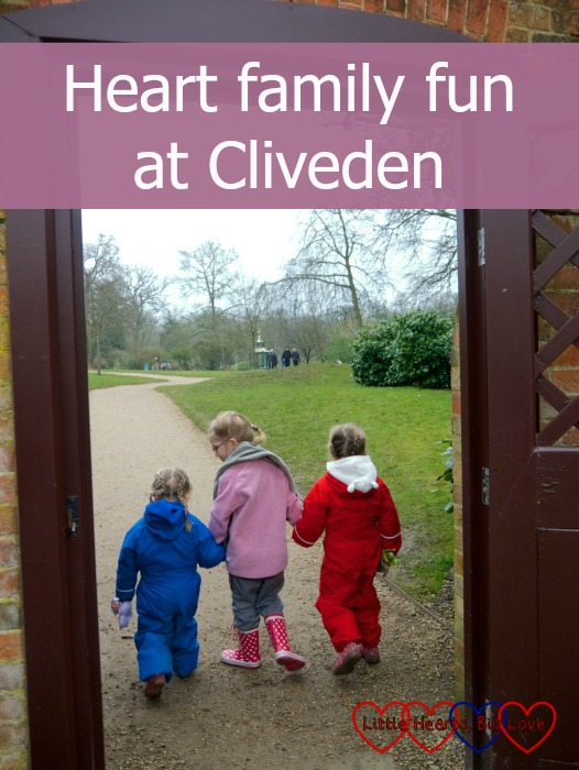 """Sophie, P and Jessica walking hand in hand towards the lake at Cliveden. """"Heart family fun at Cliveden"""""""