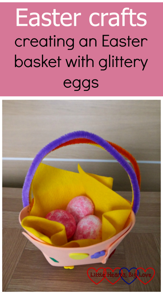 An Easter egg basket made from craft foam and pipe cleaners filled with glittery polystyrene eggs: Easter crafts - creating an Easter basket with glittery eggs
