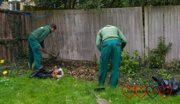 The two gardeners from Fantastic Services at work in the garden