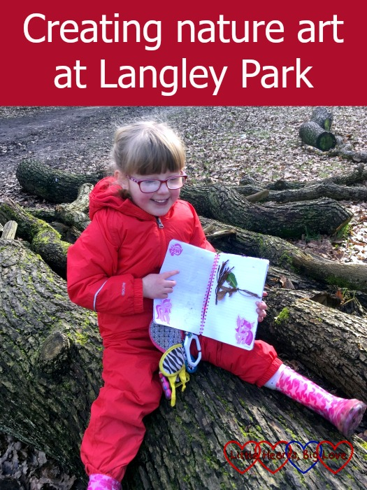 Jessica with her nature notebook: Creating nature art at Langley Park