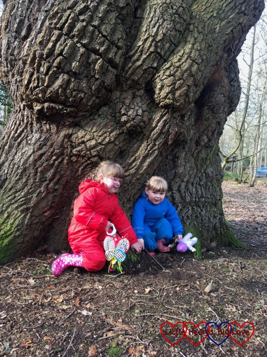 Jessica and Sophie sitting in front of a tree at Langley Park