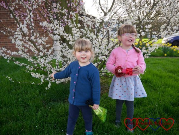 Sophie and Jessica standing in front of a blossom-covered tree