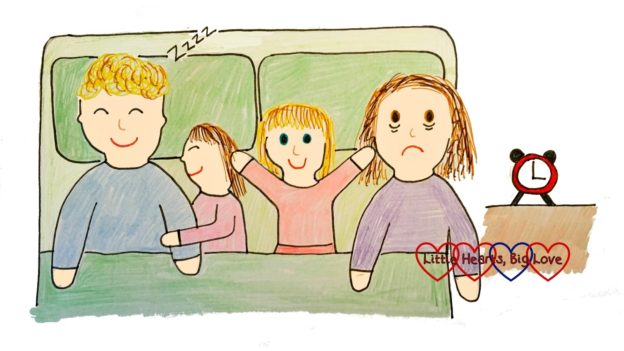 A drawing of me lying awake in bed at 3am with hubby and the girls in the bed next to me - and one of the girls is wide awake
