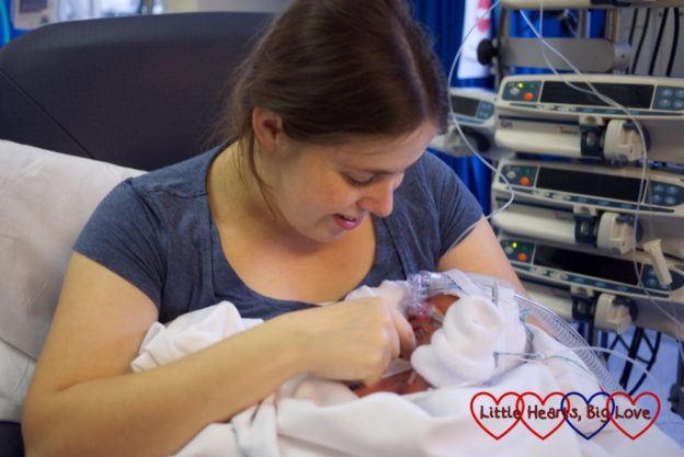 Me holding Jessica in intensive care