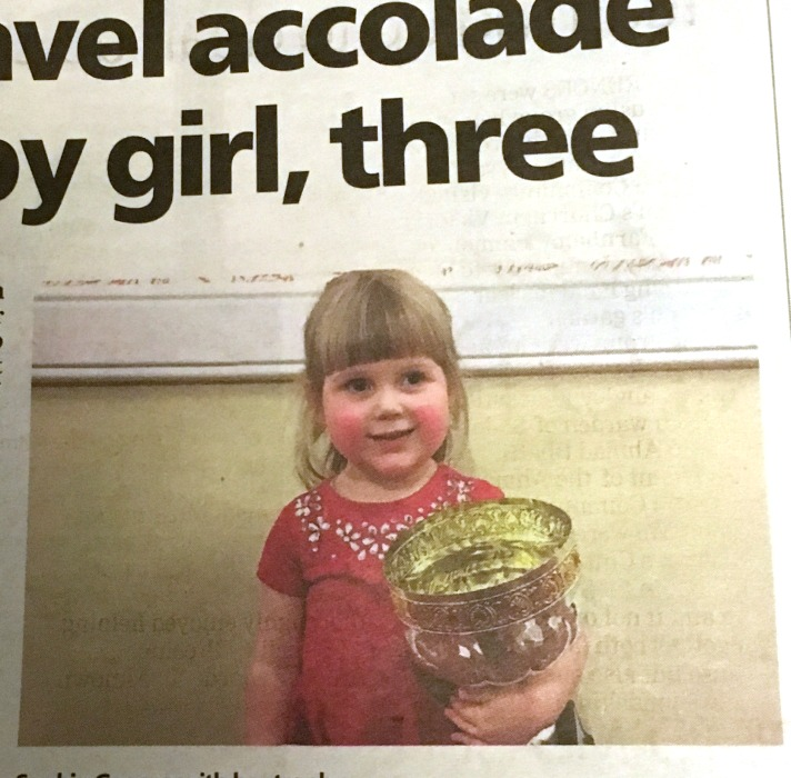 A photo of Sophie from our local paper