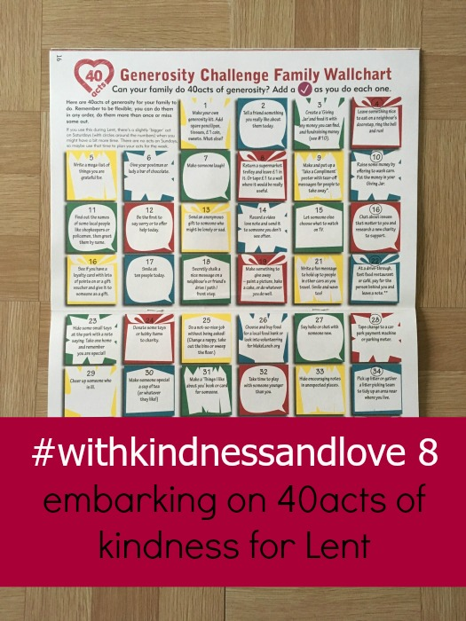 Our 40acts wallchart - #withkindnessandlove - embarking on 40acts of kindness for Lent