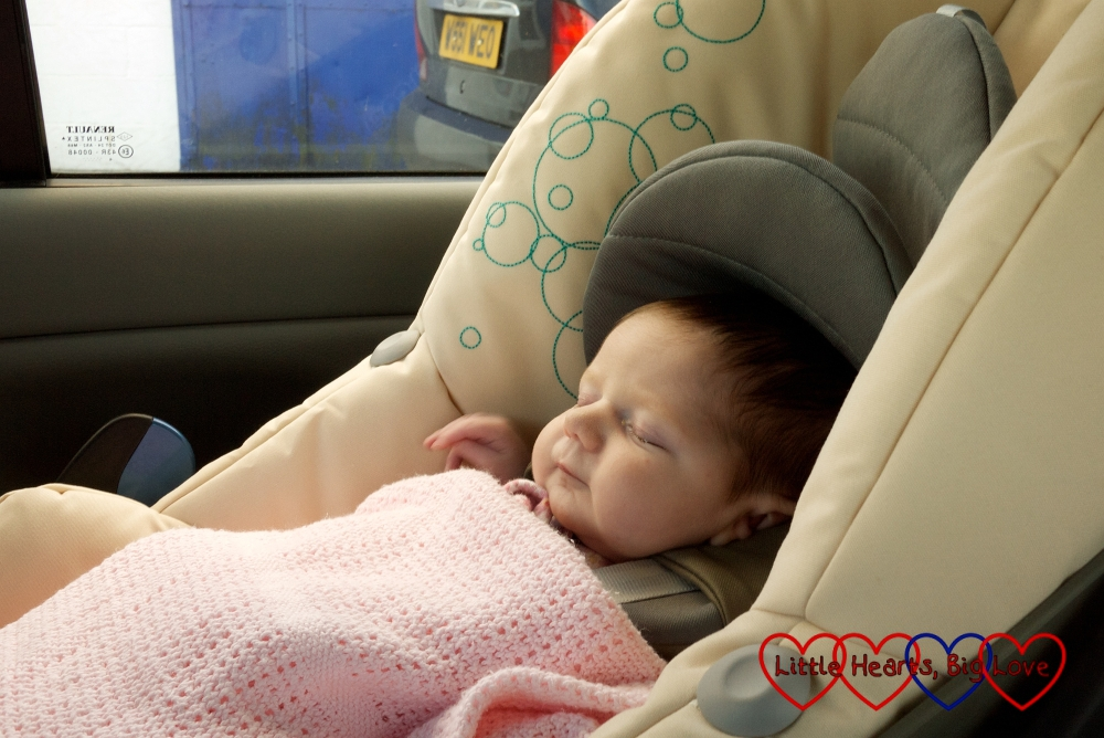Jessica in her car seat coming home from the hospital for the first time