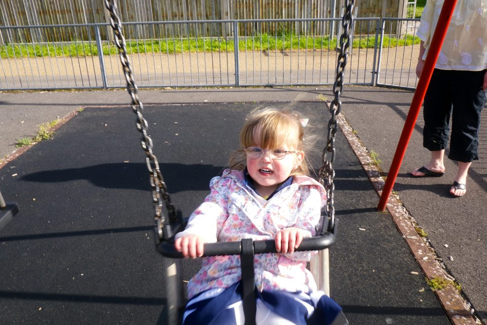 Jessica on the swing at the park