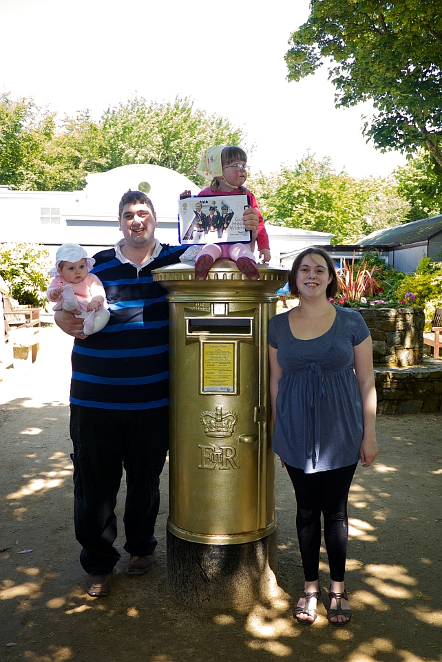 Hubby, Sophie, Jessica and me at Carl Hester's gold postbox in Sark