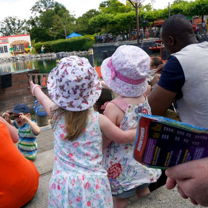Jessica watching the pirate show at Legoland with a friend