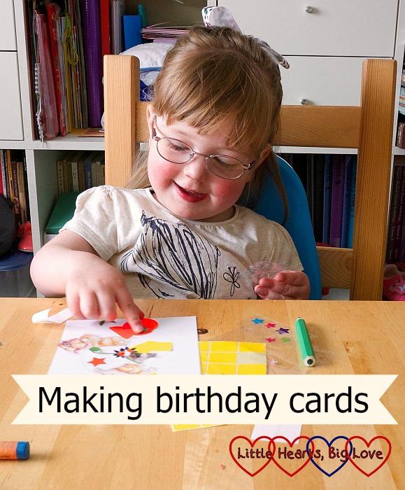 "Jessica making a birthday card for Godmummy Katy - ""Making birthday cards"""