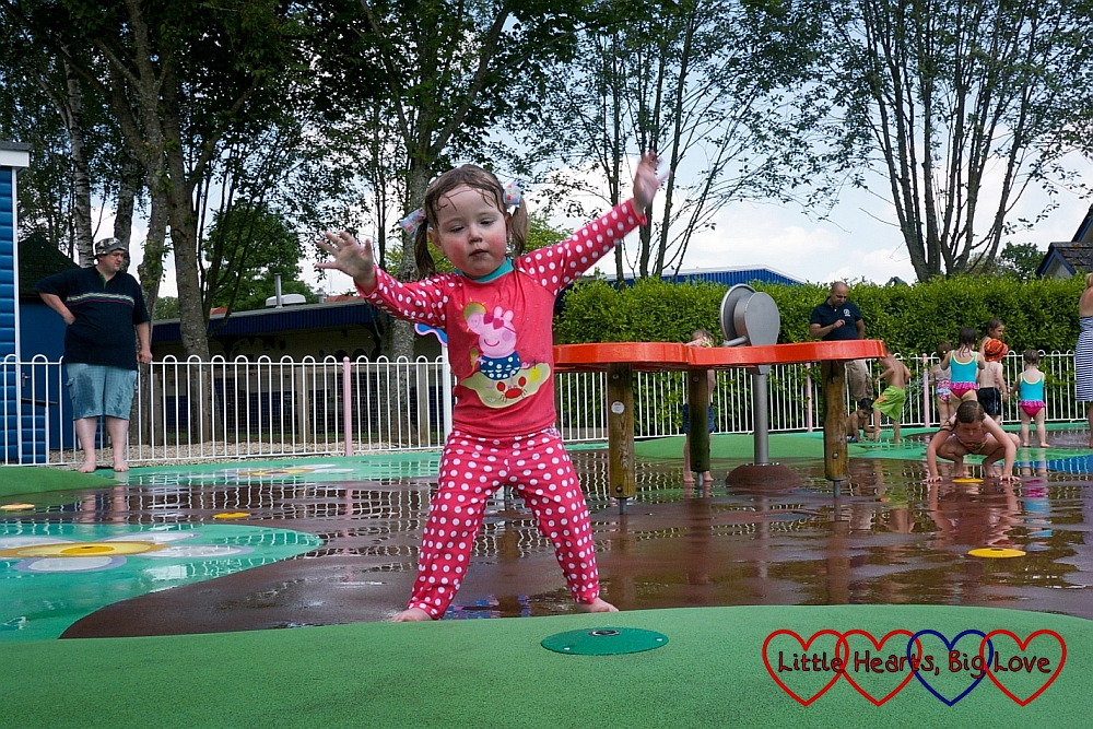 Jessica in the splash area