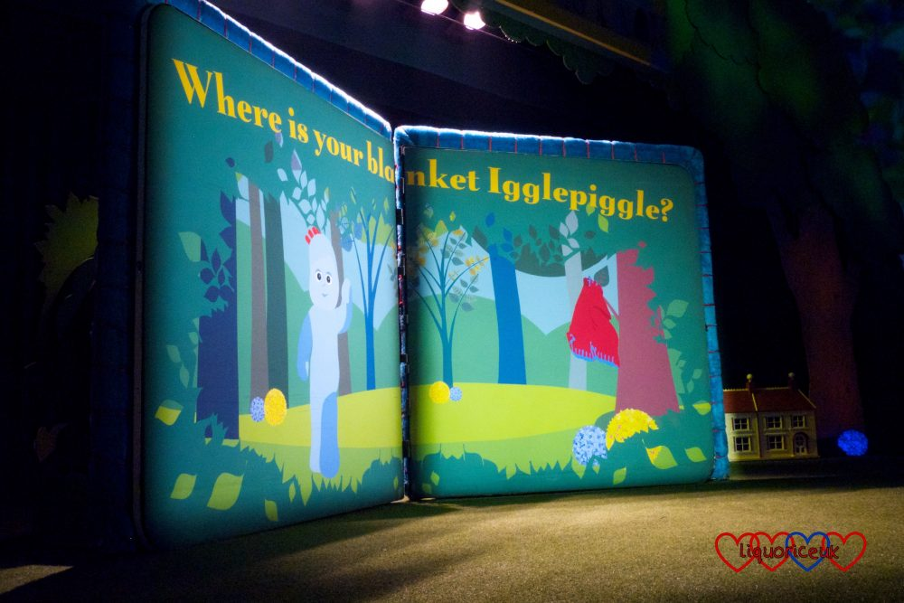 "The storybook sign with ""Where is your blanket Igglepiggle"""