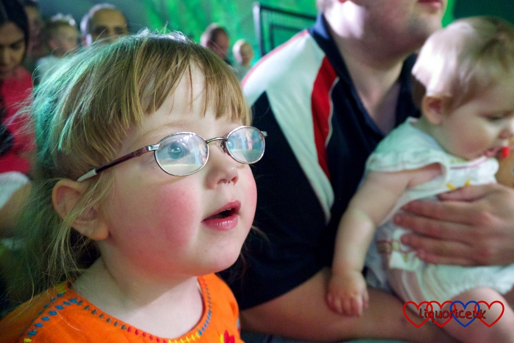 An entranced Jessica watching In the Night Garden Live