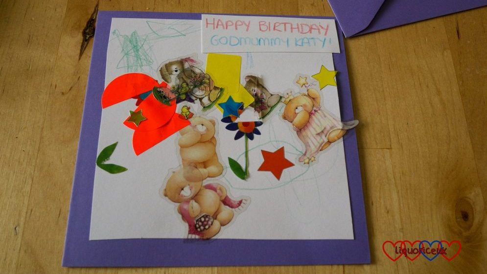 The finished birthday card for Godmummy Katy