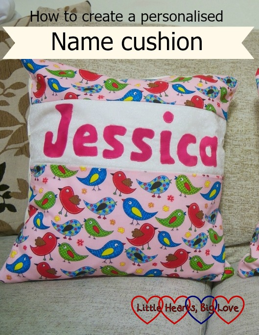 Personalised name cushion - Little Hearts, Big Love