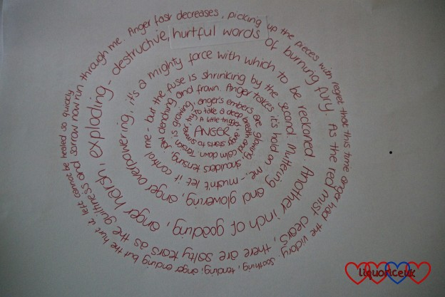 "The handwritten version of my spiral poem on ""Anger"""