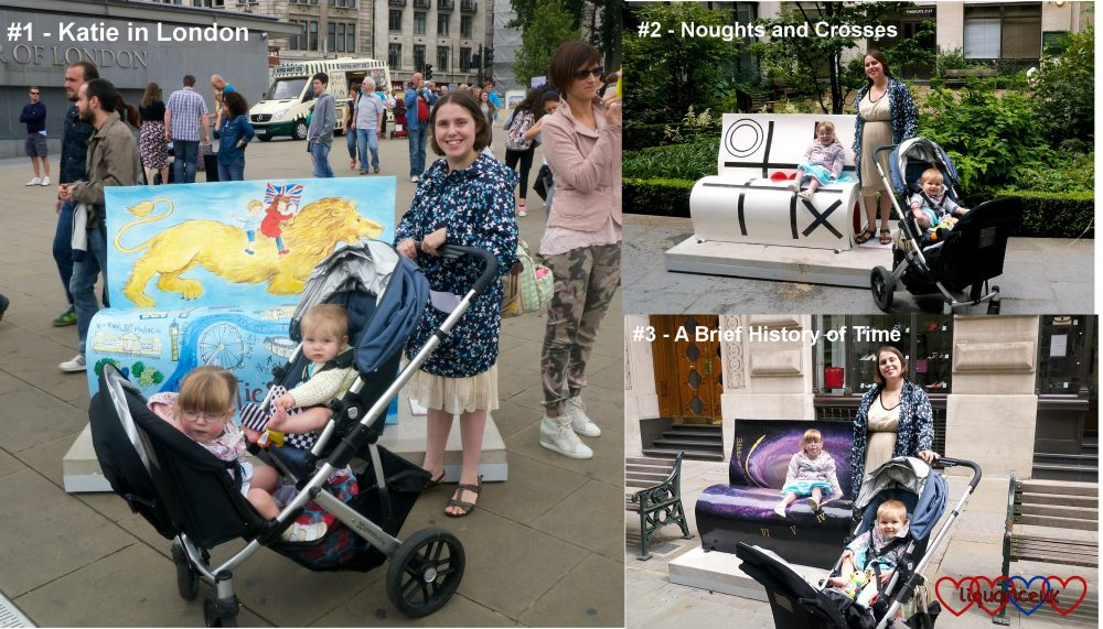 Me, Jessica and Sophie at the first three book benches - #1 Katie in London, #2 Noughts and Crosses and #3 A Brief History of Time