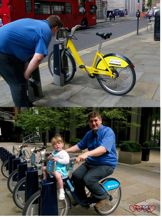 Hubby looking at a yellow 'Boris bike' and Jessica and hubby sitting on a 'Boris bike'