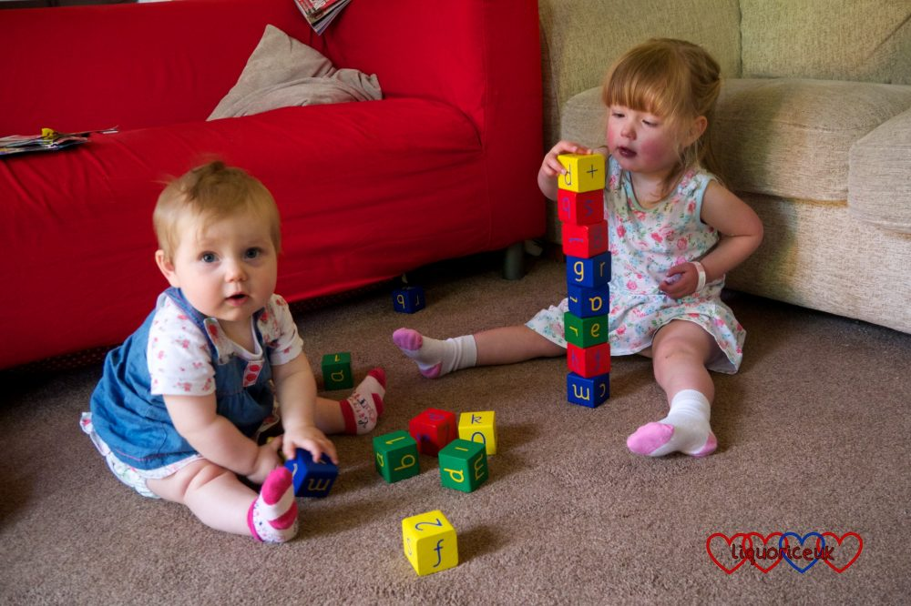 Sophie and Jessica sitting on the floor together playing with bricks