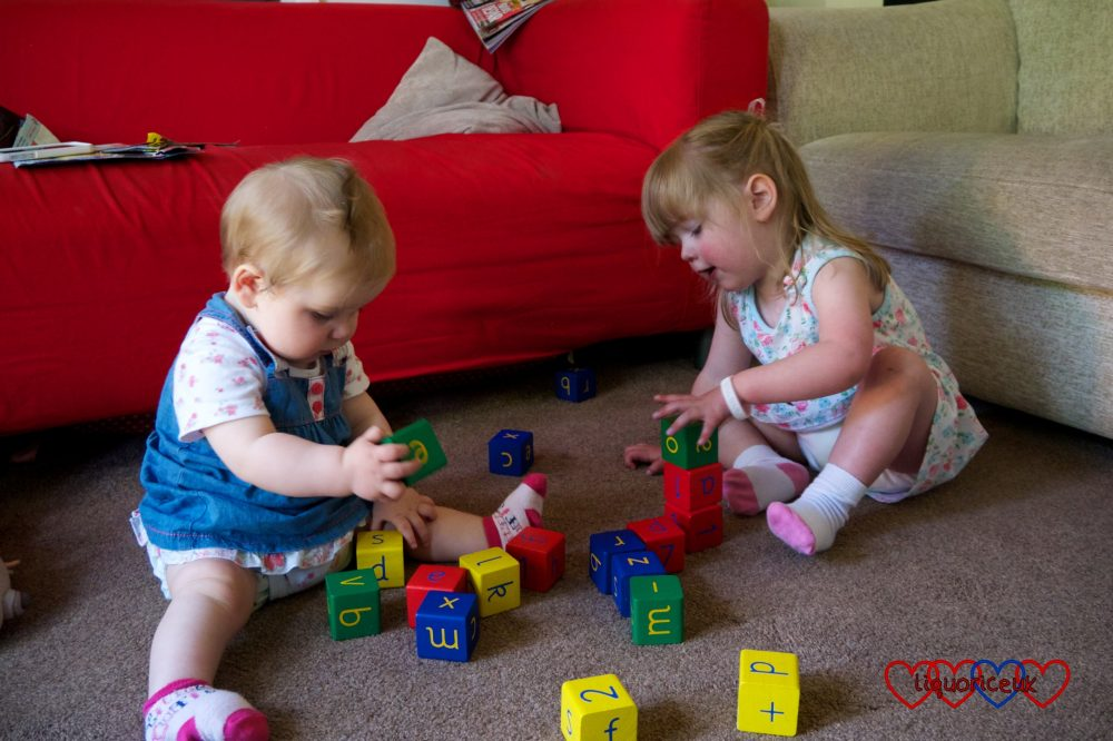 Jessica and Sophie playing with toys together