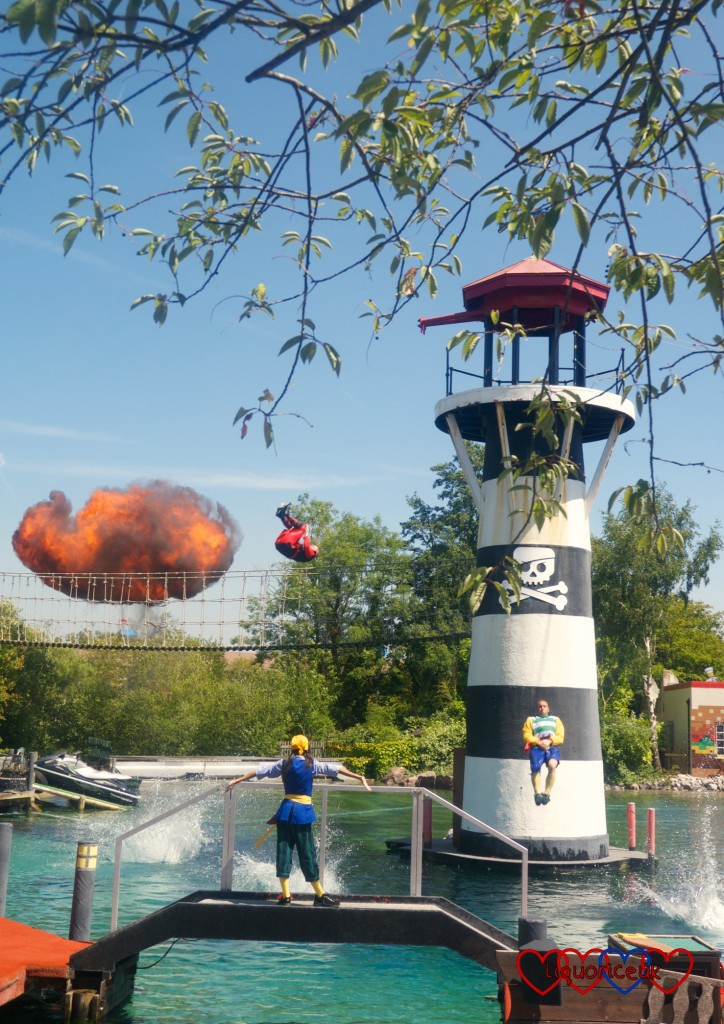 The explosion at the end of the pirate show at Legoland